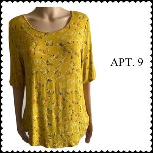 Apt. 9 Butterfly Print Large 3/4 Sleeve Top